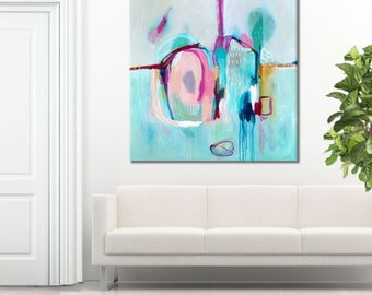 ABSTRACT BLUE PAINTING, minimalist grey abstract, abstract blue, white, grey painting, original abstract painting Print: Make Believe