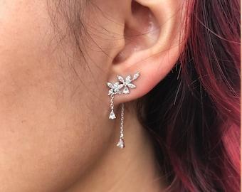 Cubic Zirconia Cluster Ear Jackets