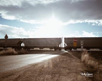 Print Rural Train Blue Sky Sun Clouds Photo