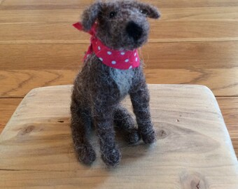 Needle felted  small Lurcher dog collectible fibre sculpture gift
