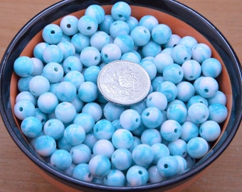 100 marble beads craft,blue Marbleized beads supply,Silver Dapple beads wholesale.turquoise round acrylic beads accessories,jewelry necklace