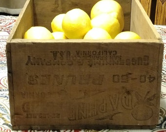 Wood Crate,Daphne Brand Prunes,Guggenhime & Company,Warehouse Crate,Industrial Fruit Crate,Old Wood Crate, California Orchard,Boxes,Produce