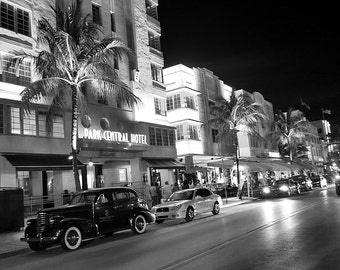 Miami Beach Photography, Black and White Photography, South Beach, Vintage Architecture Print, Vintage Car Print, Ocean Drive, Fine Art