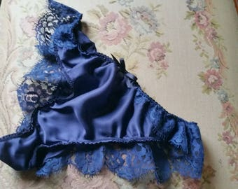 Blue Silk Satin French lace panties Size 8