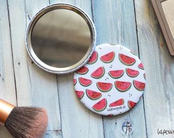 WATERMELON MIRROR, pocket mirror, 56mm round mirror, makeup mirror, watermelon design, travel accessory, hand mirror, small mirror,