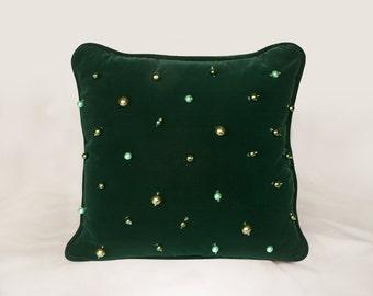 """16"""" Green Velvet Pillow with Glass Beads"""