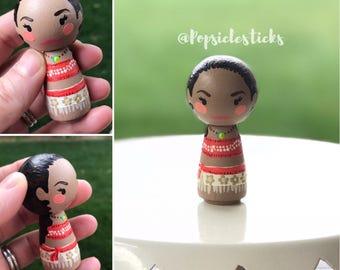 Moana wooden kokeshi peg doll