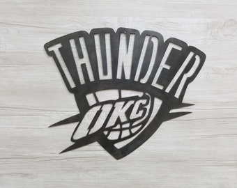 OKC Thunder Logo (Home Decor, Basketball, Sports, Wall Art, Metal Art)