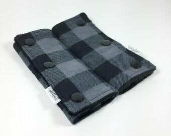 Baby Car Seat Strap Covers - Black Buffalo Plaid - Lumberjack