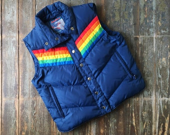 SALE Vintage 70s Antler Navy Blue Rainbow Kelso That 70s Show Down Feather Insulated Puffer Winter Vest S/M