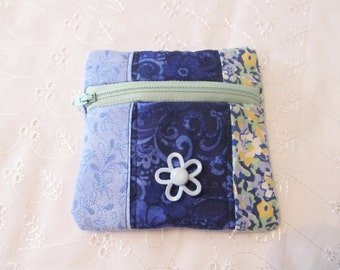 Small coin purse, handmade zipper bag, quilted coin purse, Birthday gift, bank card holder