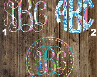 Inspired lilly pulitzer monogrammed decals