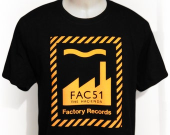 factory records fac 51 hacienda stone roses new order happy mondays joy division record label manchester madchester festival tee t shirt
