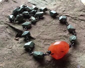 Carnelian necklace, African Jasper, copper jewelry, rustic necklace, carnelian and Jasper, wrapped stone jewelry, brecciated, orange gems