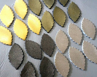 Leather Leaves, 50 Pcs, sizes 20 mm. 30 mm. High, Mixed Metallic Colors, Leather Leaves Die Cut, Leaves Decoration,DIY Projects.