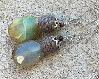 Jade & woven yarn gemstone earrings