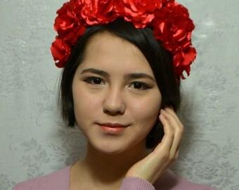 Burgundy hair wreath,Flower Crown,Flower headband,flower crown headband,Head Wreath,Kanzashi Accessories,Kanzashi Flowers,Valentines day