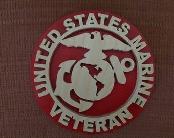 """Handmade Wood U.S. Marine Veteran Military Plaque - 8"""" Round"""