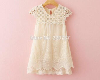 Precious Ivory Girl's Dress with Layers of Exquistely Detailed Lace