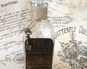 Harry Potter Gift, Potion Bottle Harry Potter Inspired - Felix Felicis Potion, Liquid Luck potion apothecary bottle with leather labels,