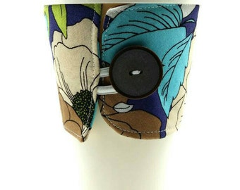 Blue/green/brown/white flower/floral drink/cup/beverage cozie/cozy/insulator