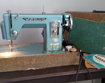 "Morse ""Super-Dial"" Portable Sewing Machine With Original Case, Owners Manuals, & Pedal By - Morse Toyota, Vintage"