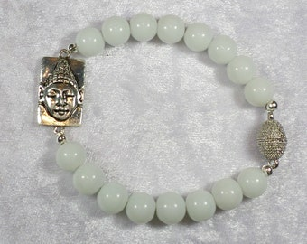 Beads Bracelet white, Jade Buddha connector, magnetic closure, handmade