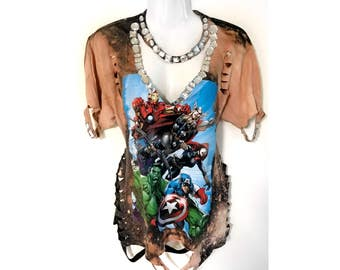 Reworked Upcycled Distressed marvel comicsTshirt