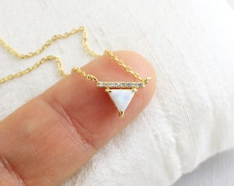 Triangle Opal Stone  Gold  Necklace,  Gold Triangle Necklace,Bridesmaid Gift,Gemstone Necklace,Birthday Gift,7007K