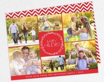 24 HOUR TURNAROUND, Family Holiday Photo Card, Family Photo Card, Merry Christmas, Happy Holidays, Printable, Printed, DIY, Red, Chevron