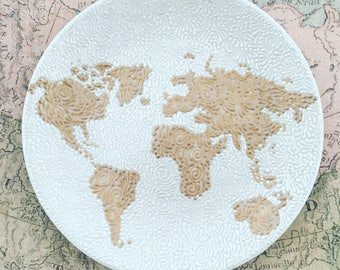 Hand Painted World Map Jewelry Plate (Rose Gold/Pearl)