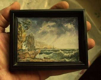 Miniature Seascape Painting, Miniature Landscape, ACEO Masterpiece, ACEO Original, Classical Painting, Oil Painting, Storm Painting