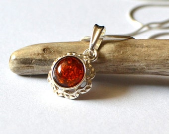 Amber Necklace, Amber Pendant, Amber Silver Pendant, Silver Amber Necklace