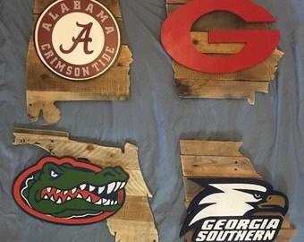 Georgia Bulldogs, Florida Gators, alabama crimson tide wood sign football Clemson LSU  roll tide Tennessee Michigan Auburn pallet logo