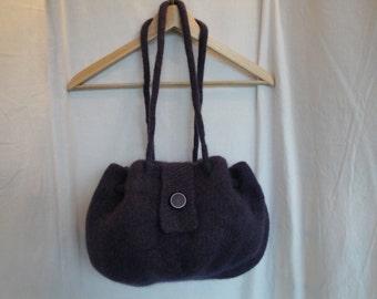 knitted felt purse, purple felt handbag, felt drawstring bag, button-tab handbag, wool felt purse, drawstring handbag, large purple purse