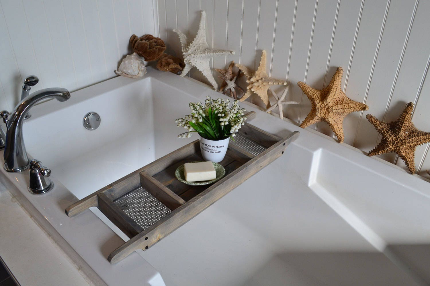 Bath Tray , Barn Wood Gray Stained Bath Caddy , Made to Order ...