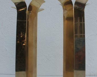 Vintage Hollywod Regency Solid Brass Polished  Candle Holders A Pair .