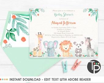Jungle Animal BABY SHOWER INVITATION, Watercolor Jungle Animal Invitation, Baby Shower Invitation, Pastel Jungle Animal Invitation, Download