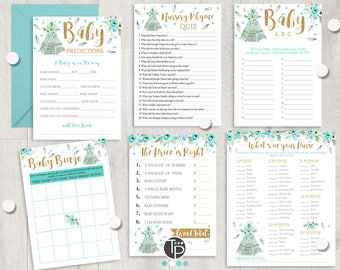 Boho BABY SHOWER Games, Instant download Baby Shower Games, Boho Teepee Baby Shower Games, Teepee Baby Shower, Boho Feather Baby Shower