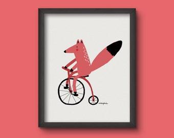 Ilustración 'fox en bici'. Impresión digital para decorar tu hogar. Habitación infantil. Zorro en bicicleta. Paredes bonitas. Decoración.