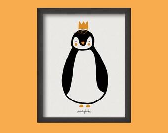 Ilustración 'Pingu' para decorar tu hogar. Habitación infantil. Pinguino mono. Paredes bonitas. Decoración para niños. Ilustración animales