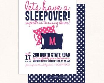 sleepover birthday invitation slumber party invitation sleepover party invitation pillow party digital - Sleepover Birthday Party Invitations
