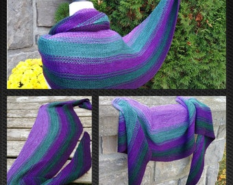 Pattern / Recipe  Colour Change Crescent Scarf - Shawl , Knitting Pattern using mini skein sets