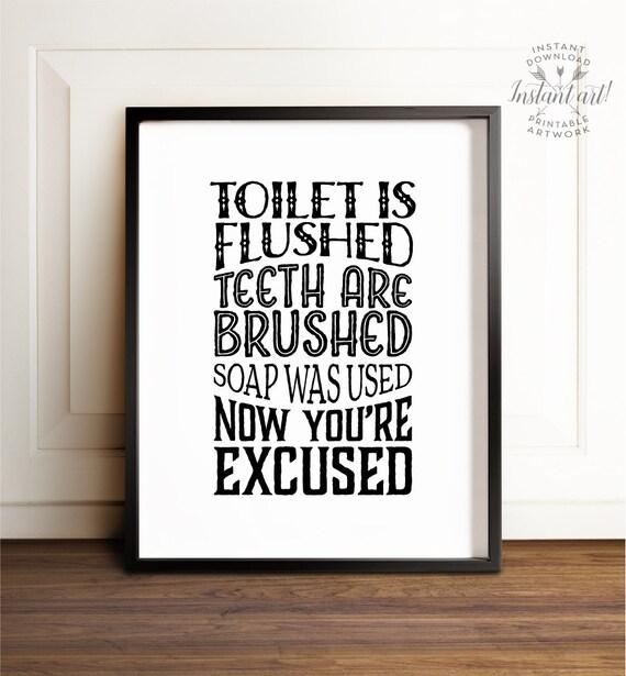 Kids Bathroom Art Printable Art Bathroom Wall Decor Flush