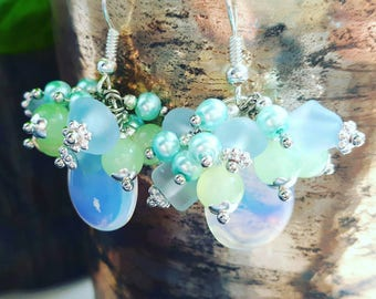 Beautiful cluster earrings with moonstone briolettes, seaglass and silver