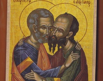 Holy Apostles Saints Peter and Paul, the embracement.Christian orthodox icon. FREE SHIPPING.
