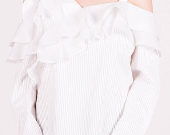NEW SS17, Claire White Ruffled Shirt, White Cotton Blouse with Ruffle Decorations by ILMNE