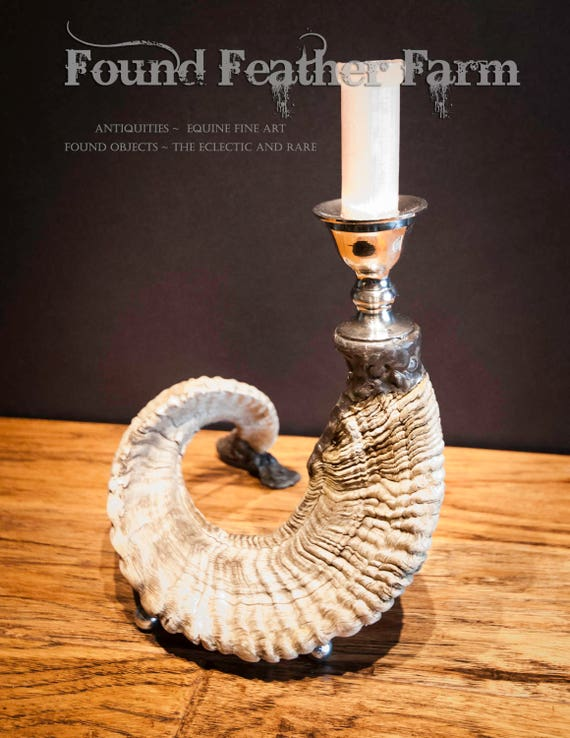 Beautiful Handmade Ram's Horn and Silver Plated Candlestick with a Beeswax Candle
