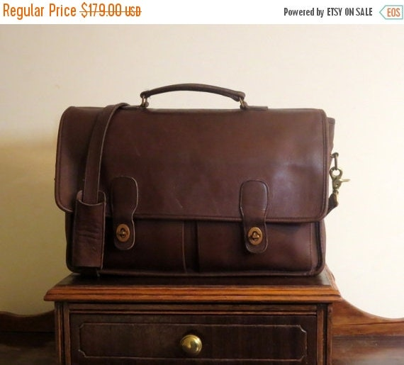 Football Days Sale Coach Prescott Mocha Brown Leather Briefcase Attache Laptop Case Pre Orderly Creed- Made in New York City VGC