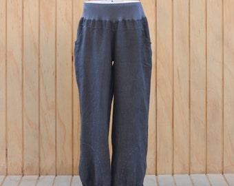 Lagenlook 100% Italian Linen Ladies UK Plus Size 16 18 20 22 24 26 Trousers Pants Long Loose Slouch Casual Comfy Plus Curve 3205